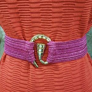 Vintage 80's Magenta Pink Straw Stretch Belt